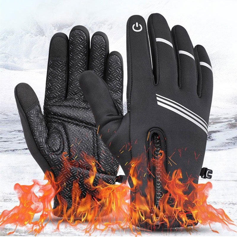 Details about  /Reflective Bicycle Riding Gloves Keep Warm Touch Screen Waterproof Thickening US