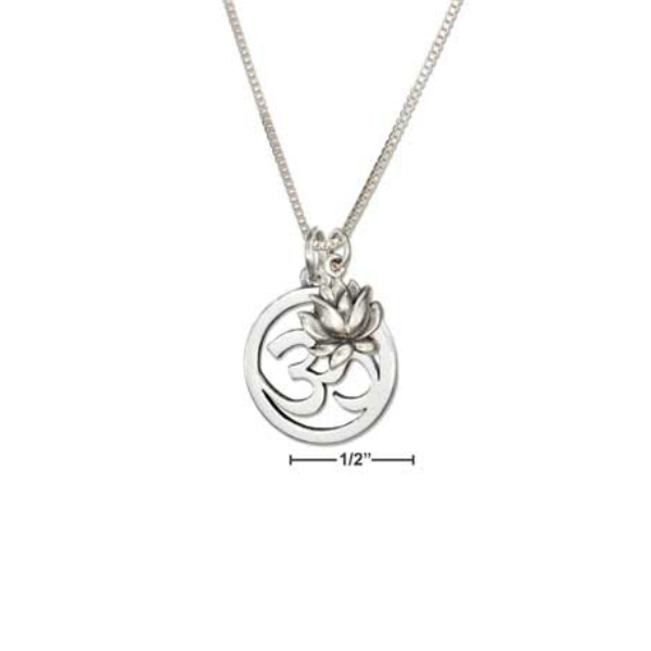 Sterling Silver Om Symbol And Lotus Flower Necklace Charlottes