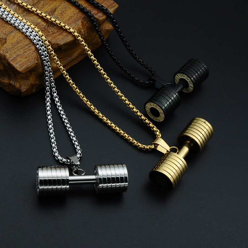 sports gift dumbbell sport for silver color com jewelry buy stainless fitness zircon cubic pendant woman aliexpress store necklace product gym steel